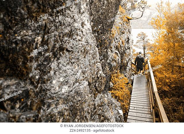 Outdoor autumn travel photograph of a hiking man walking a wooden bridge on the dove lake circuit in Cradle Mountain. Active travelling lifestyle