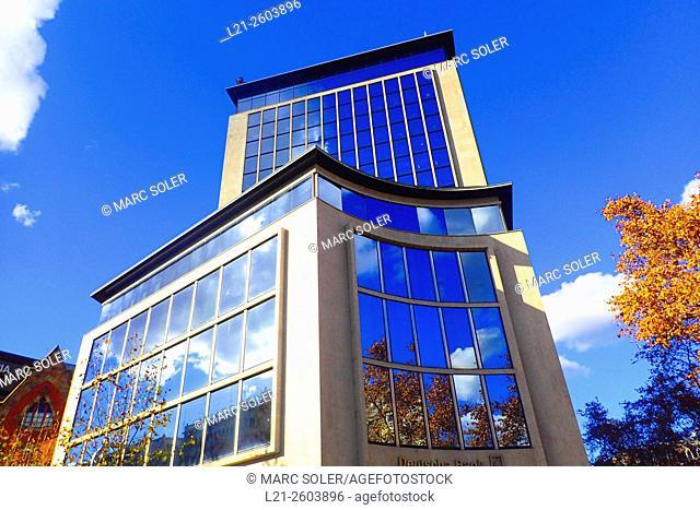Deutsche Bank building, blue sky. Diagonal, Barcelona, Catalonia, Spain
