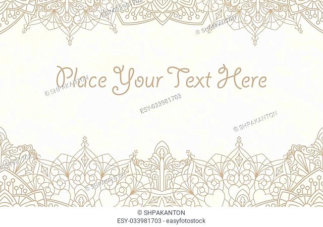 Decorative background with henna elements in East mandala style for text design or invitation card