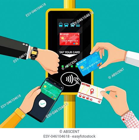 Hands with transport card, smartphone, smartwatch and bank card near terminal. Airport, metro, bus, subway ticket validator