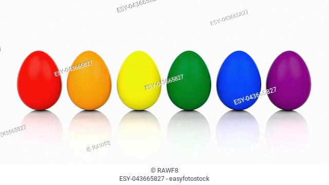 3d rendering eggs in gay flag colors on white background