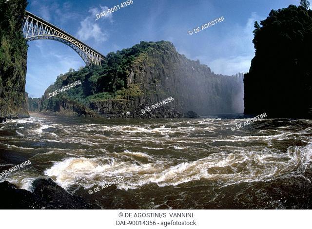 Bridge over the Zambezi River, lagoon known as the Boiling Pot, Mosi-oa-Tunya National Park, Victoria Falls (UNESCO World Heritage List, 1989), Zambia