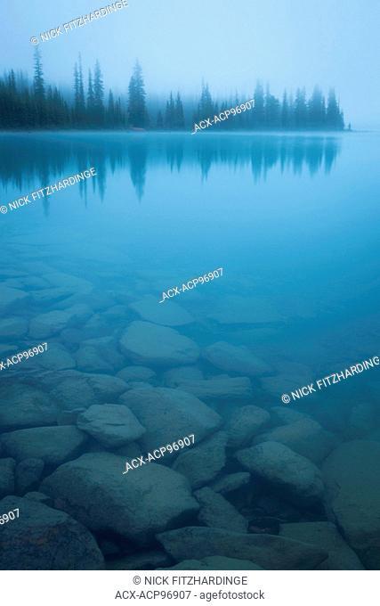 Fog at Hector Lake, Banff National Park, Alberta, Canada