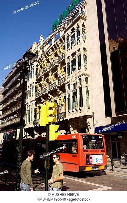 Spain, Aragon, Zaragoza, the Calle Coso, building 's facade