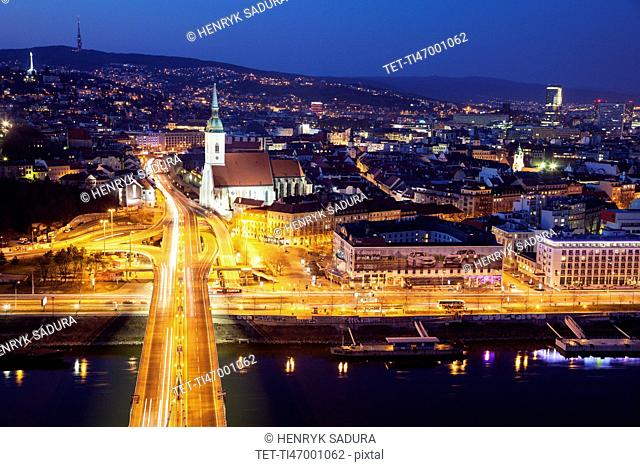 Cityscape of Bratislava at night