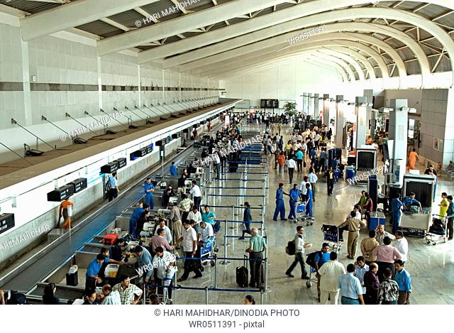Check in counters at chhatrapati shivaji international airport , Santacruz , Bombay Mumbai , Maharashtra , India