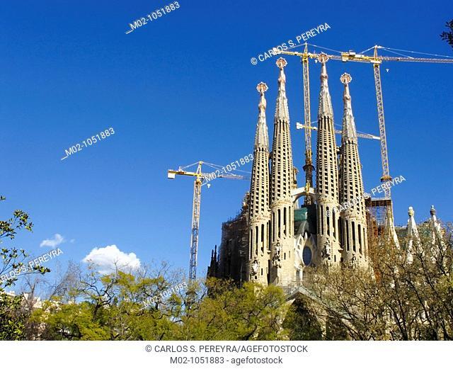 The Sagrada Familia Church by Antoni Gaudi in Barcelona Spain