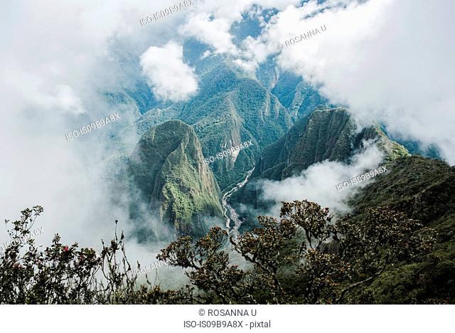 Elevated view of cloudy mountains, Machu Picchu, Cusco, Peru, South America