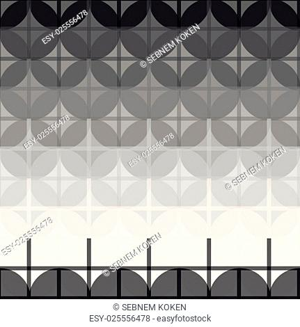 Seamless black and white abstract modern pattern created from circle and line intersections