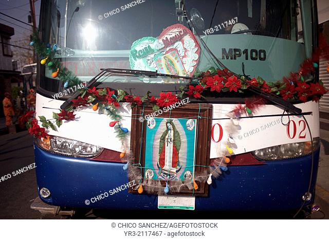 Images of the Virgin of Guadalupe decorate a truck at the pilgrimage to Our Lady of Guadalupe Basilica in Mexico City, Mexico, December 11, 2013