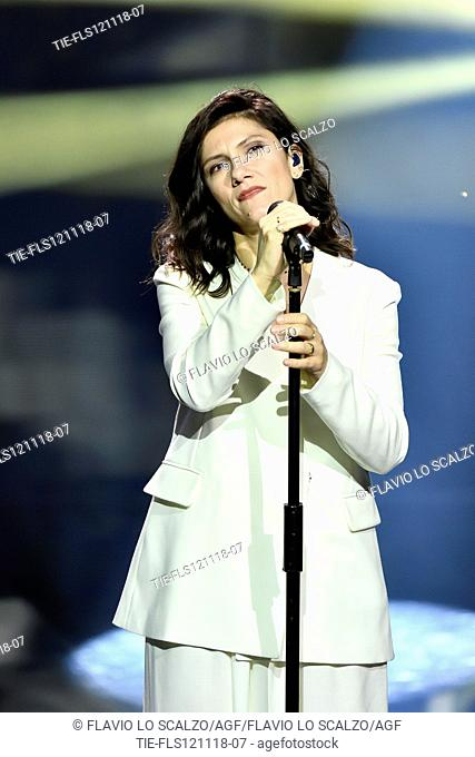 Italian singer Elisa during the tv show Che tempo che fa, Milan, ITALY- 11-11-2018