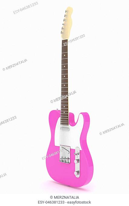 Isolated purple electric guitar on white background. Musical instrument for rock, blues, metal songs. 3D rendering