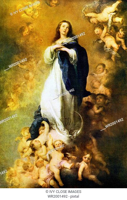 Spanish Baroque painter Bartolome Esteban Murillo (died 1682) is best known for his religious art works, incuding this one titled Immaculate Conception of the...