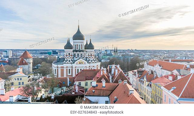 Cityscape view on the old town with Alexander Nevsky cathedral in Tallinn, Estonia on Feb 18, 2017