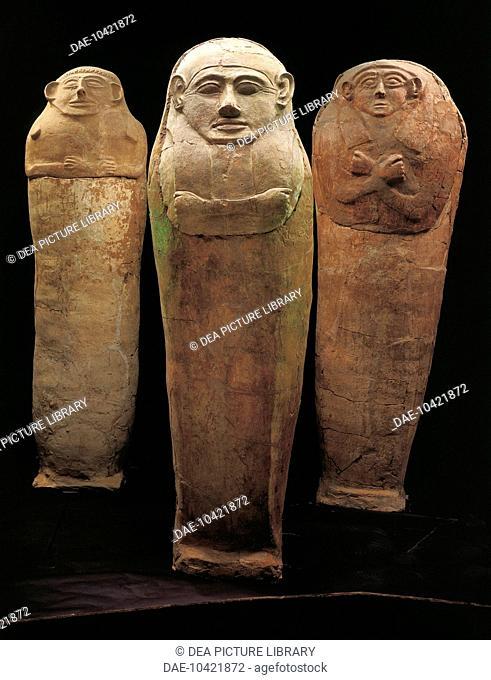 Three anthropoid sarcophagi from the necropolis in Deir el Balah, Gaza. Civilisation of Palestine, 12th Century Bc.  Jerusalem