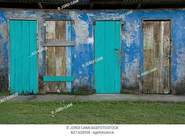 Disused storehouse. Tortuguero village. Atlantic Coast. Costa Rica. Central America