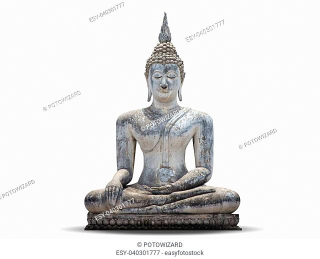 White Buddha, isolated against white background