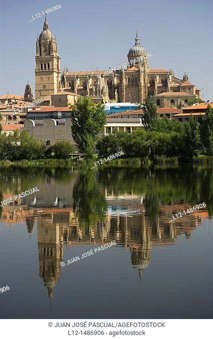 River Tormes and cathedral, Salamanca, Castilla y León, Spain