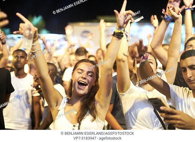 party people at music festival Starbeach on 13. August 2018 in Chersonissos, Crete, Greece