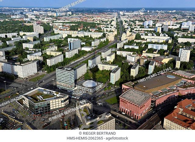 Germany, Berlin, Berlin-Mitte, Alexanderplatz in the foreground, Karl-Marx Allee is the largest artery of the country leading from Alexanderplatz to Frankfurter...
