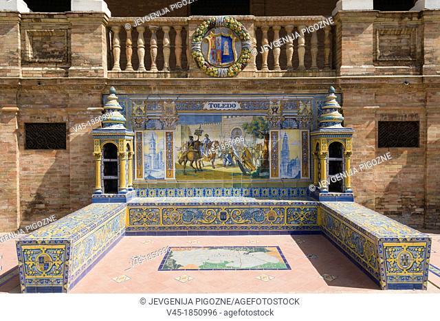 One of the tiled Province Alcoves along the walls of The Plaza de España , Spain Square, The Maria Luisa Park,Parque de Maria Luisa, Seville, Sevilla, Andalusia