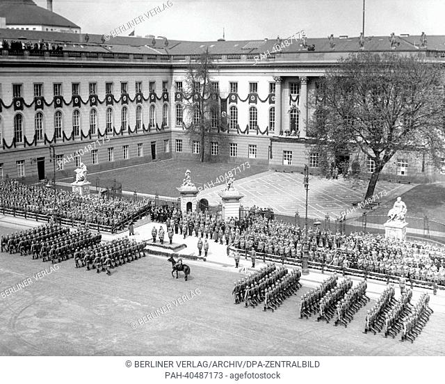 The German Wehrmacht parades for Adolf Hitler for his 49th birthday in front of the building of the Friedrich-Wilhelms-Universität (since 1949: Humboldt...