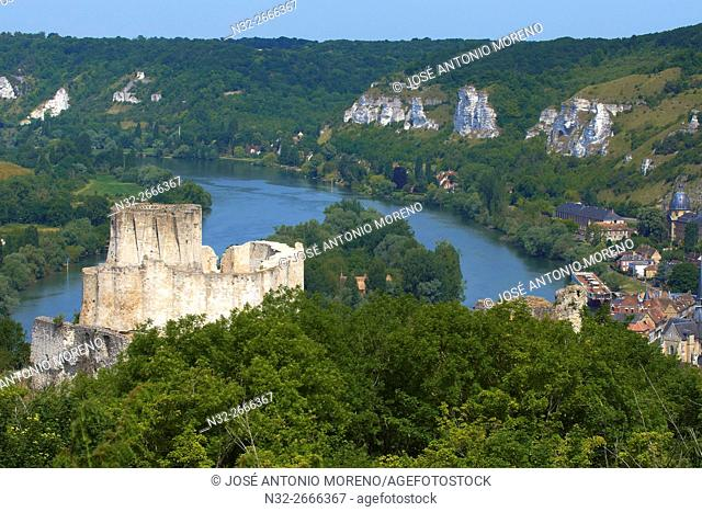 Meander of Seine river, Les Andelys, Seine river, Galliard Castle, Château-Gaillard, Seine valley, Normandy, France