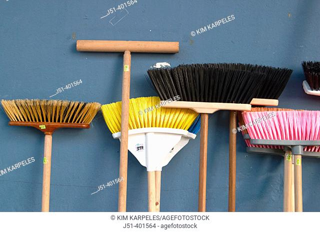 PUERTO RICO  San Juan. Variety of broom shapes and colors, lean against blue wall, Plaza del Mercado