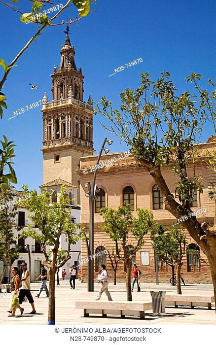 Town Hall and St Mary's church, Ecija. Sevilla province, Andalucia, Spain