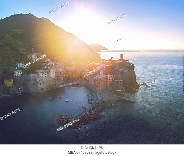Vernazza, 5 Terre, Liguria, Italy. Aerial view of Vernazza at sunrise
