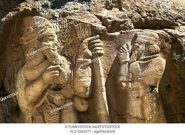 Picture of the Ivriz Hittite rock relief sculpture monument dedicated to King Warpalawas in which he talks to Tarhundas the God of Thunder