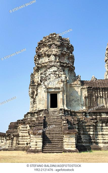 Angkor Wat first level stone tower, Cambodia