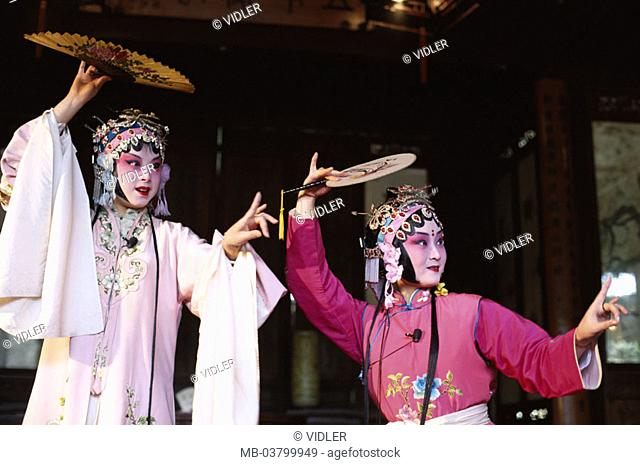 China, Peking, Peking opera, actors, Outfits, idea,  Asia, Eastern Asia, opera, opera actors, artists, two, face painting, made up headdress, dance, Movement