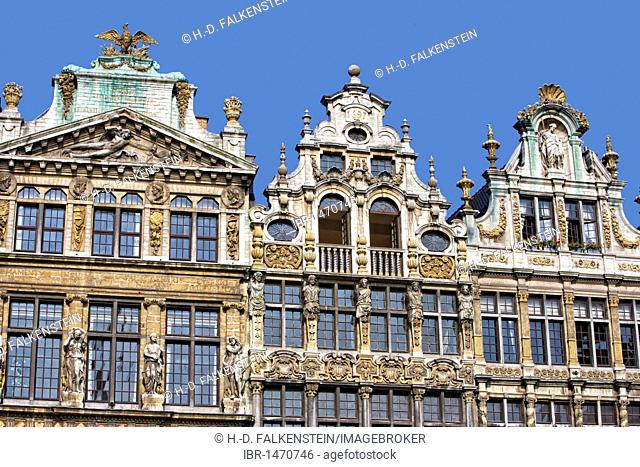 Facades and gables of the guildhalls on the Grote Markt, Grand Place, Brussels, Belgium, Europe