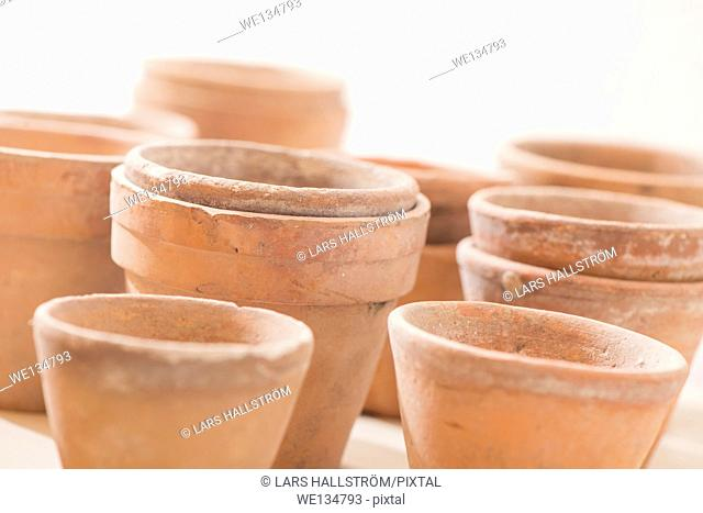 Collection of old ceramic planter pots