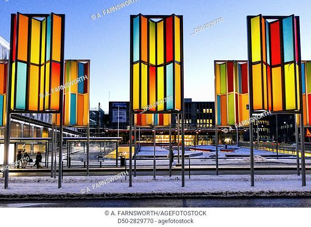 STOCKHOLM, SWEDEN Suburb of Flemingsberg. Street scenes