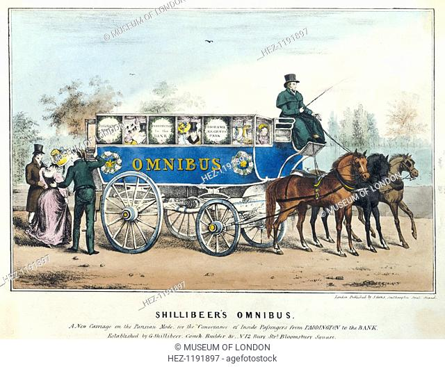 'Shillibeer's Omnibus. A New Carriage on the Parisian Mode, for the Convenance of Inside Passengers from Paddington to the Bank', London, 1838