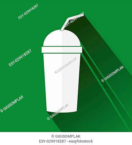 Flat icon of of Recycle Drink Glass, isolated on white
