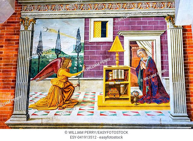 Annunciation Angel Medieval Renaissance Fresco Baptistery Loggia Collegiate Church of Santa Maria Assunta San Gimignano Tuscany Italy By Sebastiano Mainardi...