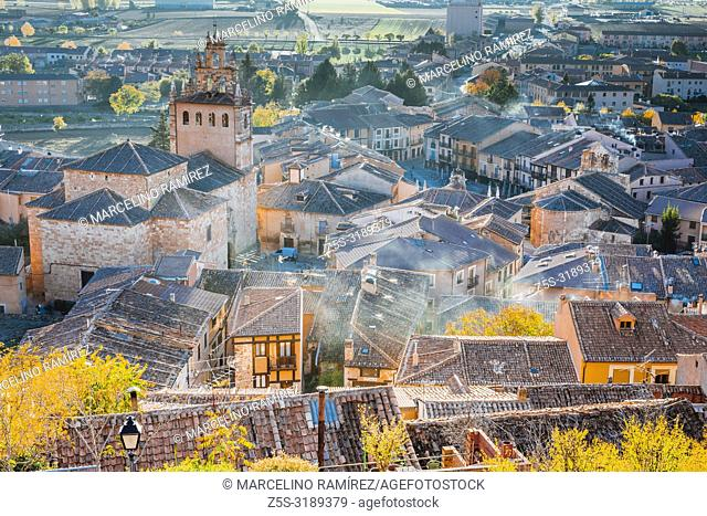Historical center, seen from above, highlighting the Church of Santa María la Mayor. Ayllon, Segovia, Castilla y leon, Spain, Europe