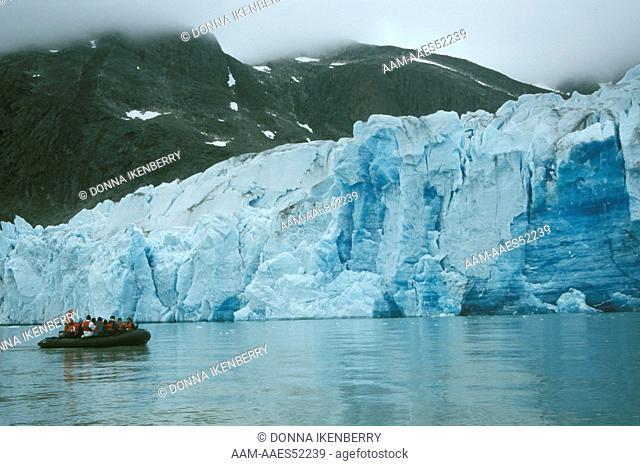 Marine Expeditions Folk at Tidewater Glacier, Evigheds Fjord, Greenland