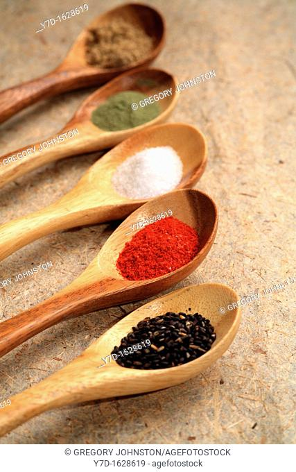 Assorted dried spices displayed on small wooden spoons