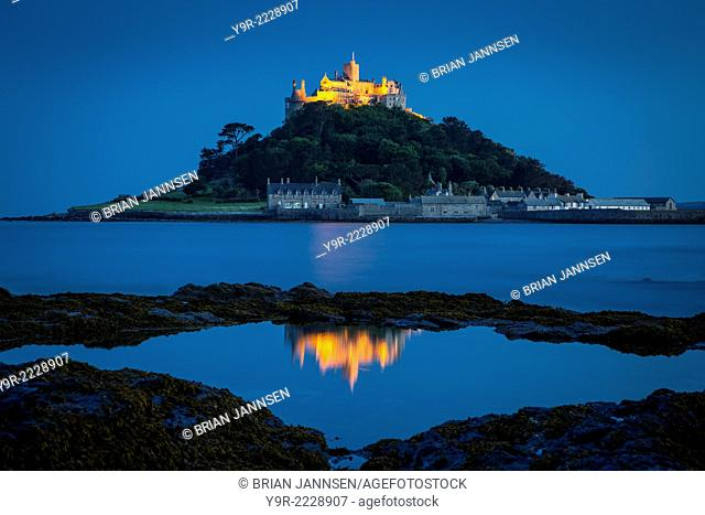 Dusk reflections below St. Michael's Mount, Marazion, Cornwall, England