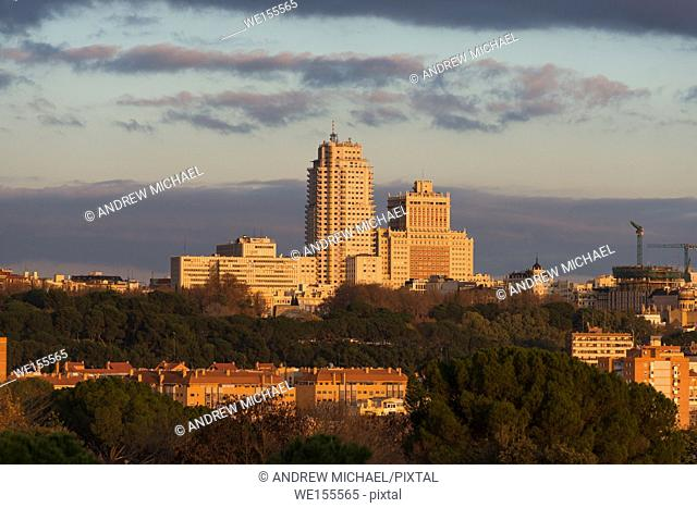 Madrid Skyline looking towards Plaza de España, seen from Casa de Campo at sunset. Spain