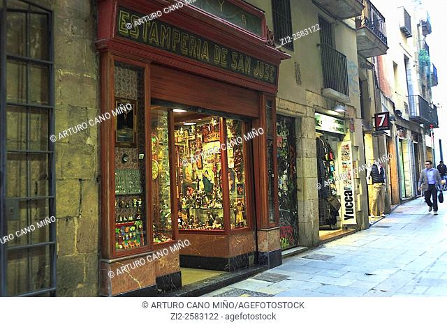 A shop of religious articles on the Barrio Gotico. Barcelona, Spain