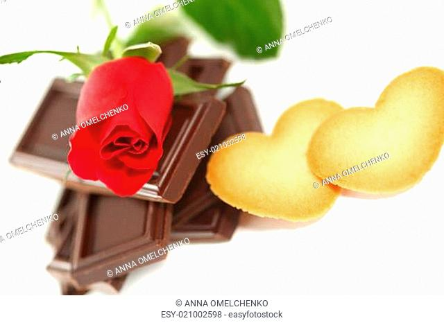 Red Rose with chocolate & cookie