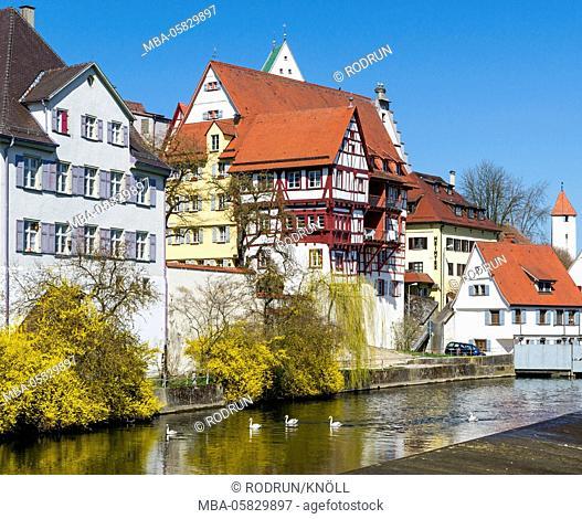 Germany, Baden-Wurttemberg, Riedlingen, half-timbered house, houses on the Danube