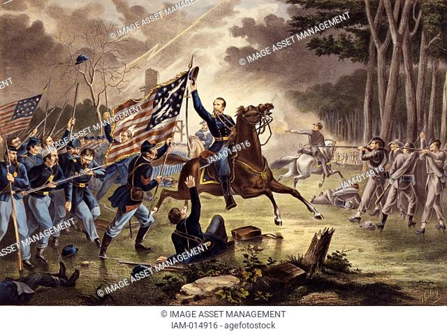 American Civil War 1861-1865: General Kearney's gallant charge, Battle of Chantilly Ox Hill, Virginia, 1 September 1862. Kearny mistakenly rode into the...