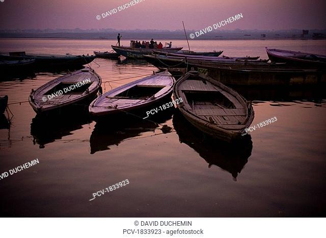 Varanasi, India, Boats moored at dock