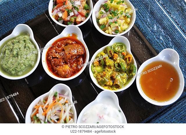 Mauritius, Palmar, spicy sauces served at the Ambre Hotel